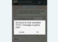 questa immagine mostra lo screen della cancellazione di una conversazione di whatsapp