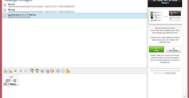 questa immagine mostra una schermata di deamons tools, un programma che permette di aprire file iso senza masterizzare