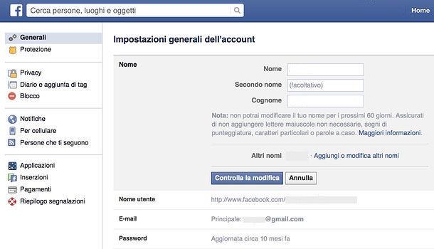 in questa immagine è presente la schermata delle impostazioni account di facebook.