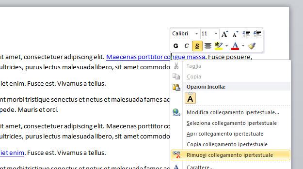 """in questa immagine è presente un foglio word con il menu a tendina con su scritto """"rimuovi collegamento ipertestuale"""""""
