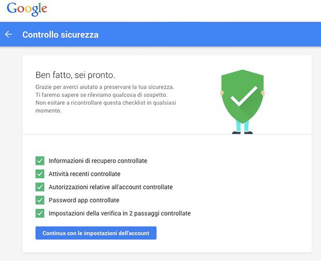 screen della pagina per mettere il profilo google in sicurezza