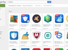 Lista risultati antivirus android su google play