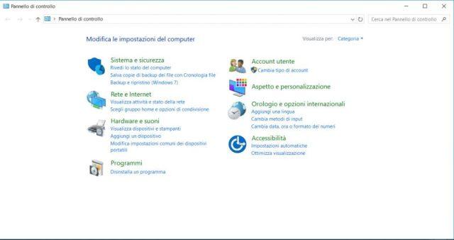 screenshot pannello di controllo windows 10