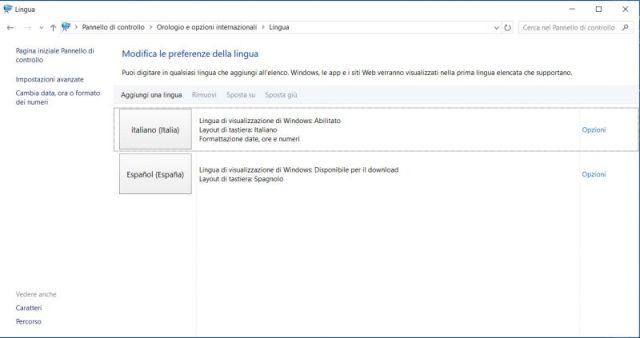 screenshot con opzioni lingua windows 10