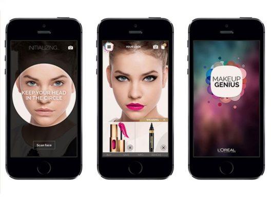 Schermate dell'app per truccarsi Makeup Genius