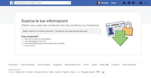 Backup per recuperare chat cancellate su Facebook