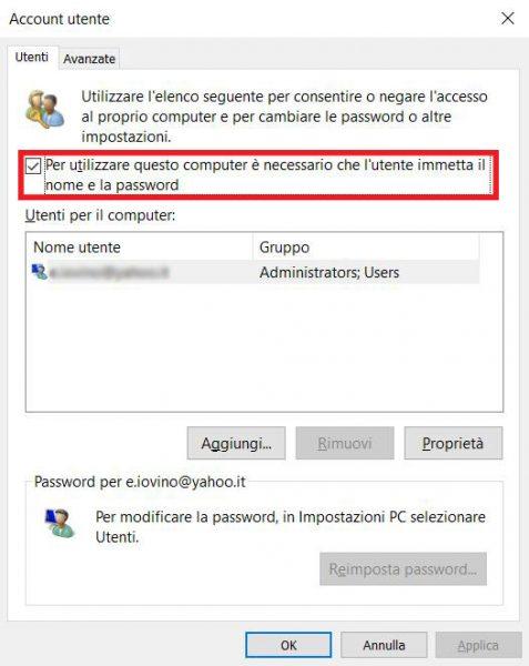 Finestra dei permessi dell'Account utente con in evidenza l'impostazione di utilizzare la password