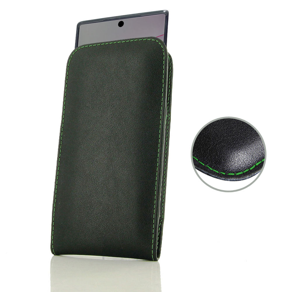 Samsung Galaxy Note 10 Plus In Slim Cover Pouch Pdair Green Stitch
