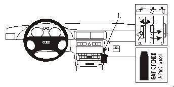Brodit ProClip 852857, abgewinkelte Befestigung für Audi