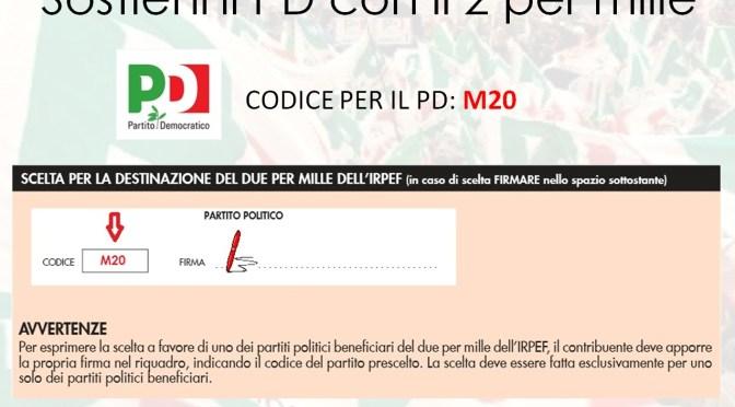 2XMILLE: M20 il codice per sostenere il Pd