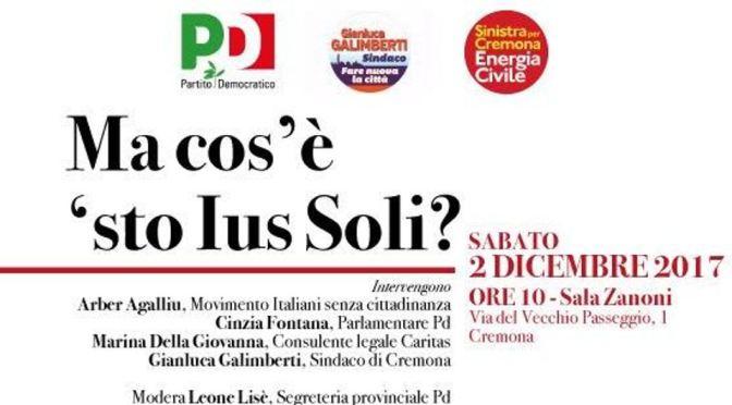 Sabato 2 dicembre incontro sullo Ius Soli a Cremona