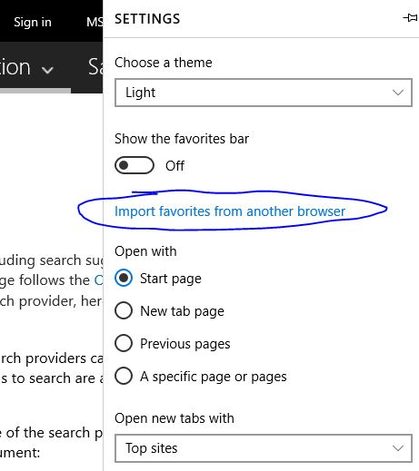 To Import favorites from Google Chrome to Microsoft Edge Browsers