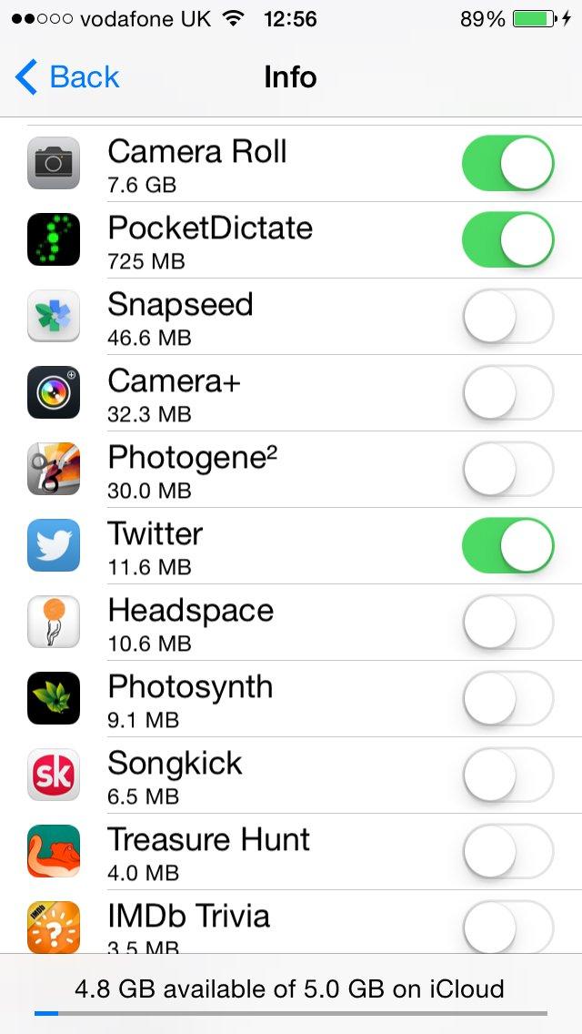 iCloud automatically backs up