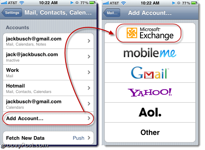 setup exchange account on iphone how to add an email account in apple iphone or ipod touch 18005