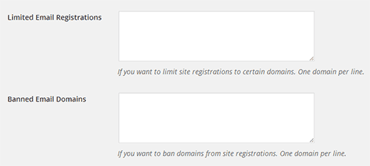 Limited-Email-Registration-options