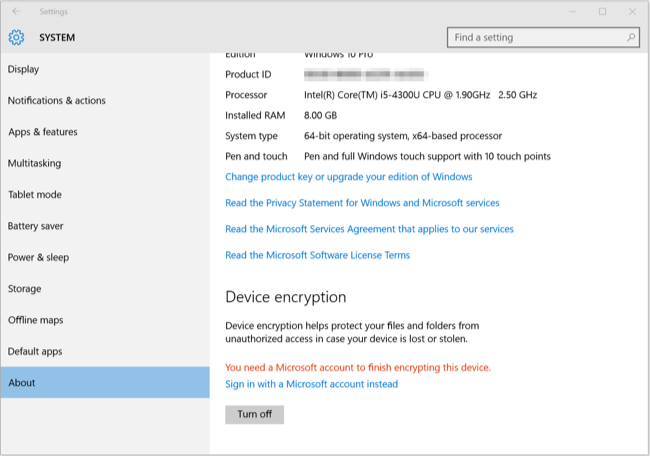 Check Windows 10 Support Device Encryption or Not