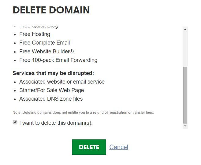 Delete a Domain Permanently From Godaddy Admin Panel