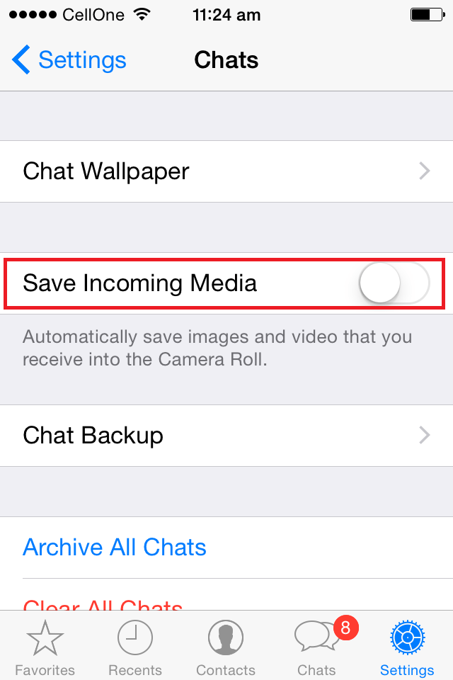 How to stop Whatsapp automatically saving Photos and Videos to iPhone's Camera roll