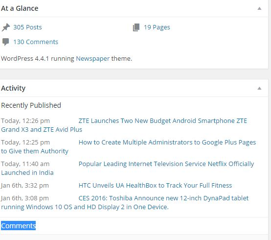 How to remove at a Glance and Activity, comments and other messages from Admin Dashboard of WordPress Website