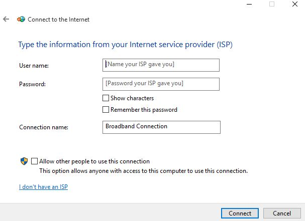 How to set up a dial up connection on Windows 10