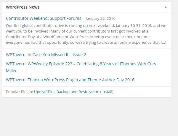 How to Remove official News From your Wordpress Admin Dashboard