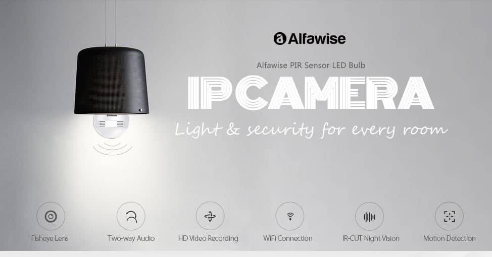 Alfawise JD - T8610 - Q2 Wireless WiFi IP Camera Bulb Cam GearBest Coupon Code with Global Shipping