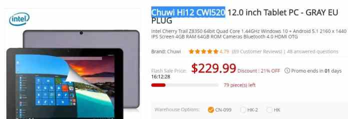 Chuwi Hi12 CWI520 Coupon Code