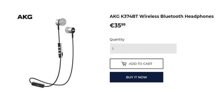 AKG K374BT Wireless Bluetooth Headphones Coupon Code Available