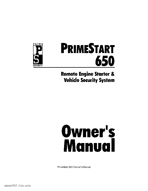 Clifford Electronics PrimeStart 650 Installation Manual