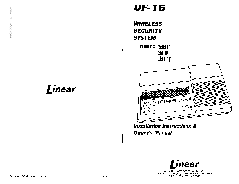 Linear Corporation Defiant SSD DF-16 Installation Manual