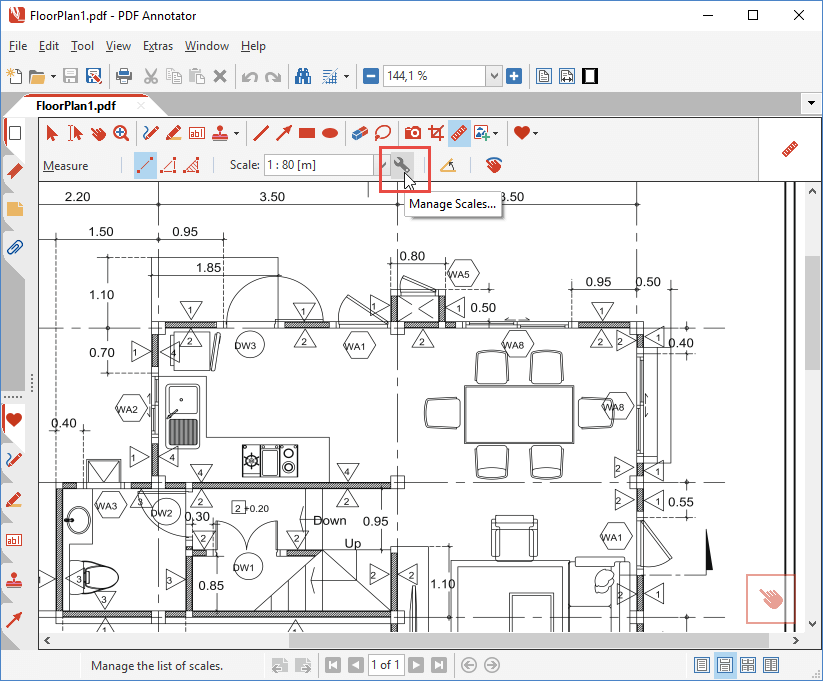 How to measure distances in technical drawings with custom