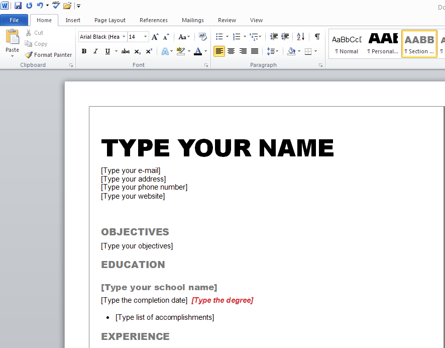 how to type resume in word