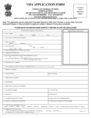 Indian Visa Application Form Pdf Fill Online Printable