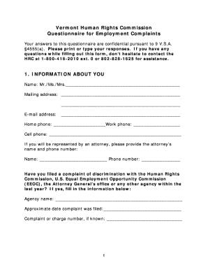 Fillable Online hrc vermont EMPLOYMENT complaint form - Vermont ...