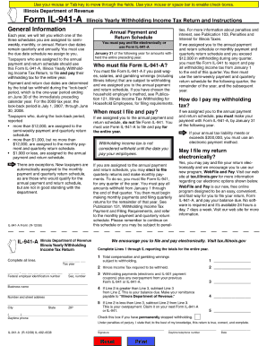 2008 Form IL DoR IL-941-A Fill Online, Printable, Fillable