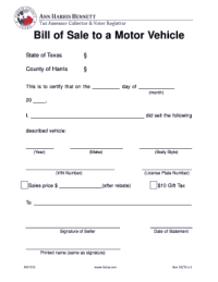 Georgia Motor Vehicle Bill Of Sale Form Templates ...