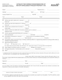 Bill Of Sale Form Kentucky Affidavit Of Motor Vehicle Sale ...