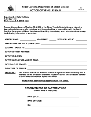 Bill Of Sale Form South Carolina Boat Bill Of Sale Templates ...