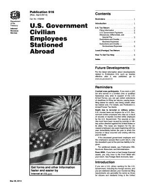Fillable Online irs Publication 516 (Rev. April 2014). U.S