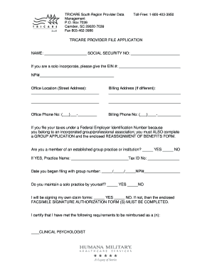 Tricare Provider File Application  Fill Online Printable