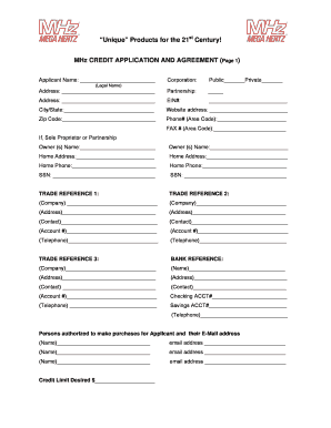 20 Printable customer credit application form and