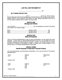 Last Will And Testament Nc - Fill Online, Printable ...