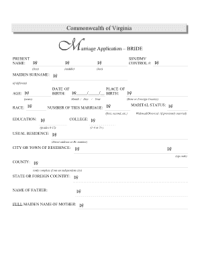 Virginia Marriage License Pdf Application Form - Fill ...
