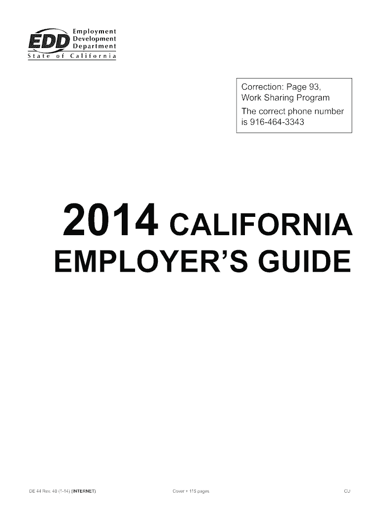 2015 Form CA DE 44 Fill Online, Printable, Fillable, Blank