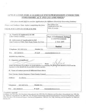 Foreshore Lease Application Form - Fill Online, Printable, Fillable ...