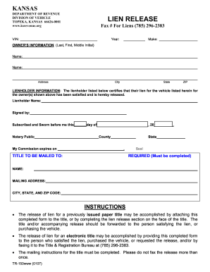 Auto Lien Release Form Kansas   Irrevocable Letter Of Credit