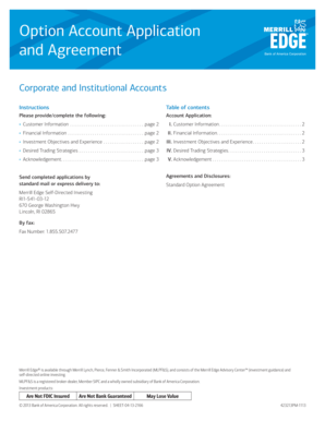 Fillable Online Option Account Application and Agreement - Merrill Lynch Login Fax Email Print - PDFfiller