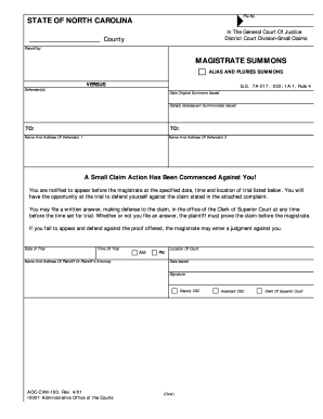 Fillable Online MAGISTRATE SUMMONS STATE OF NORTH CAROLINA  Forms Fax Email Print  PDFfiller