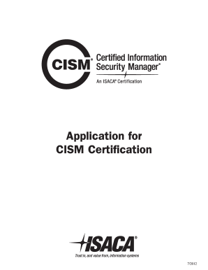 2012 Form App for CISM Certification Fill Online