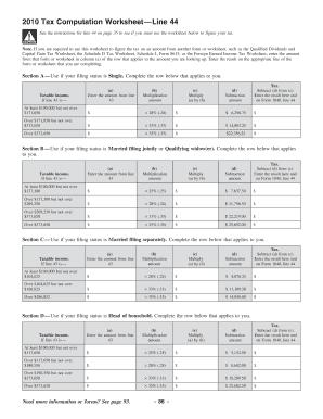 Tax Computation Worksheet Line 44